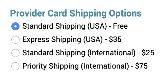 provider card shipping option