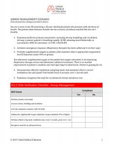 ACLS Airway Management Skills Checklist
