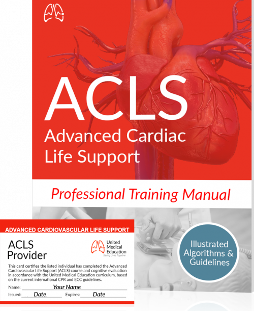 ACLS certification training manual and card