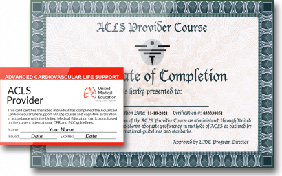 ACLS provider card and certificate